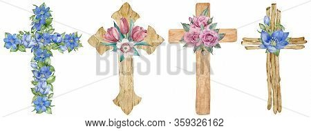 Watercolor Set Of Wooden And Floral Crosses Decorated With First Spring Flowers Isolated On The Whit