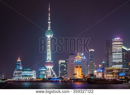 Shanghai, Pudong, Lujiazui, China - May 4, 2010: Night Skyline Of Colorfully Lighted Oriental Pearl