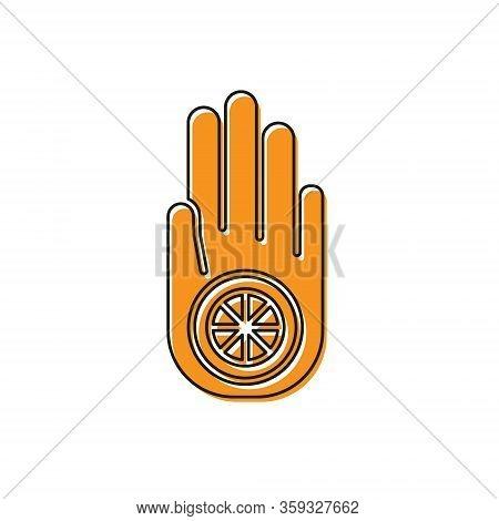 Orange Symbol Of Jainism Or Jain Dharma Icon Isolated On White Background. Religious Sign. Symbol Of