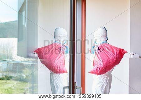 Waste disposal of hazardous waste in clinic at Covid-19 coronavirus epidemic