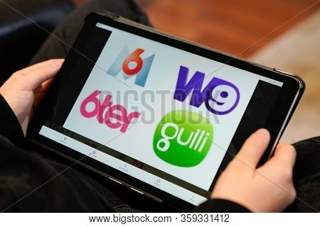 Bordeaux , Aquitaine / France - 12 04 2019 : M6 W9 6ter Gulli Sign Logo On Screen Tablet  French Med
