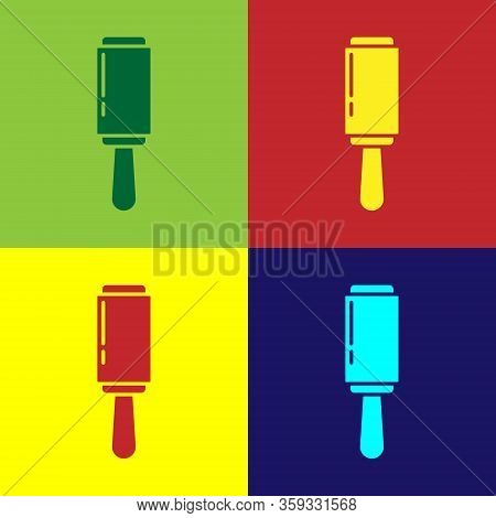 Pop Art Adhesive Roller For Cleaning Clothes Icon Isolated On Color Background. Getting Rid Of Debri
