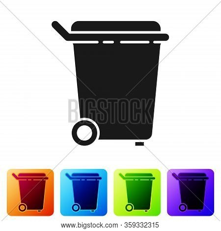 Black Trash Can Icon Isolated On White Background. Garbage Bin Sign. Recycle Basket Icon. Office Tra