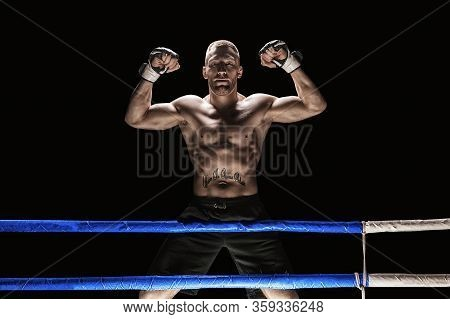 Kickboxer Posing In The Ring. The Athlete Climbed The Ropes And Took A Winning Pose. The Concept Of