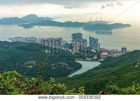 Hong Kong, China - January 12, 2016: Lamma Island Viewed From Victoria Peak On Hong Kong Island In H