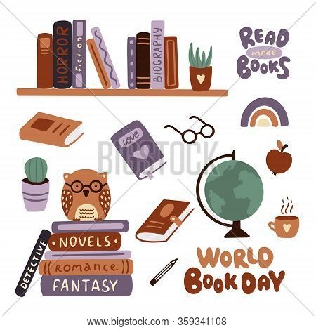 World Book Day.  Set Of Book, Lettering, Glasses, An Apple, Shelves With Books, A Stack Of Books Wit