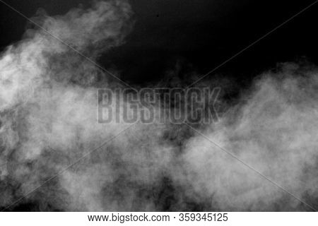 Isolated White Fog On The Black Background, Smoky Effect For Photos And Artworks. Smoke And Powder O