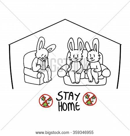 Corona Virus Kids Cartoon Stay Home Cute Bunnies On Couch Reading Infographic. Educational Graphic F