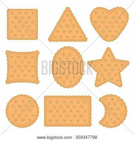 Vector Set Of Cracker Chips Of Various Shapes. Top View Of Cheese Crackers Isolated On White Backgro