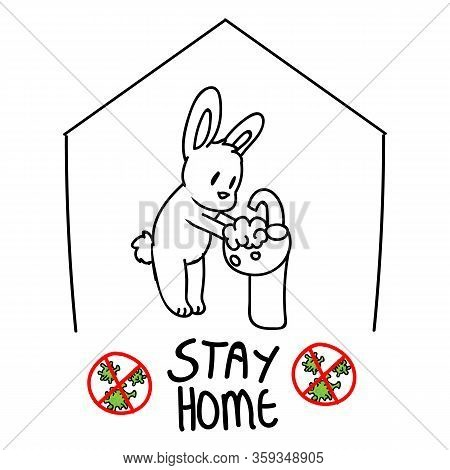 Corona Virus Covid 19 Stay Home Cute Bunny In Monochrome Lineart Activity Infographic. Self Isolate