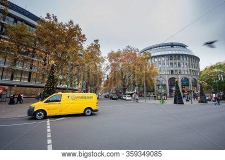 Berlin, Germany - November 12, 2014: Prosegur Security Van At The Shopping Street Kurfurstendamm In