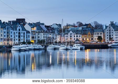 Alesund, Norway - April 13, 2018: Architecture of the Alesund town in Norway. Alesund is a town and municipality in west Norway.