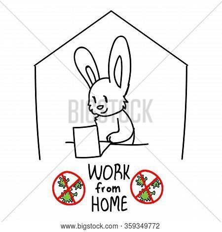 Corona Virus Kids Cartoon Work From Home Cute Rabbit Laptop Monochrome Lineart. Educational Graphic