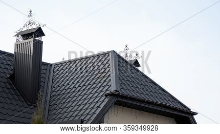 Black Metal Tile Roof. Roof Metal Sheets. Modern Types Of Roofing Materials. Roof Of The House, Meta