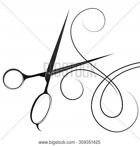 Hair Stylist Scissors Silhouette And Curl Hair For Beauty Salon And Hairdresser