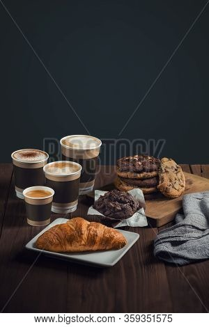 Four Types Of Coffee, Espresso, Cappuccino, Latte And Mokiyato In Disposable Take-away Cups With Pas