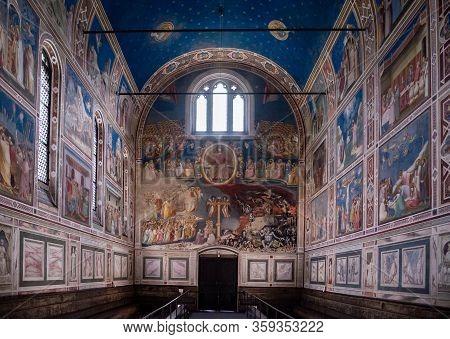 Padua, Italy - July 2, 2017: Marble Imitation In Scrovegni Chapel Cappella Degli Scrovegni, Arena Ch