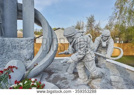 Ukraine, Chernobyl, April 25 2019:. Monument To The Liquidators Of The Chernobyl Disaster At The Fes