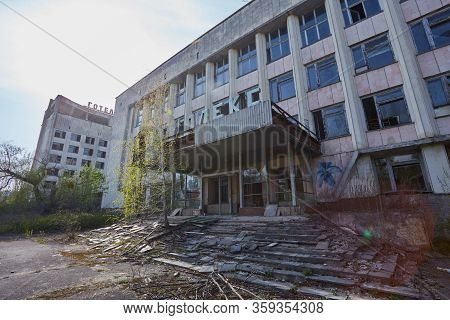 Rusty Sign Of Radioactivity On A Building In Abandoned City Of Pripyat, Town Destroyed By Nuclear Ca