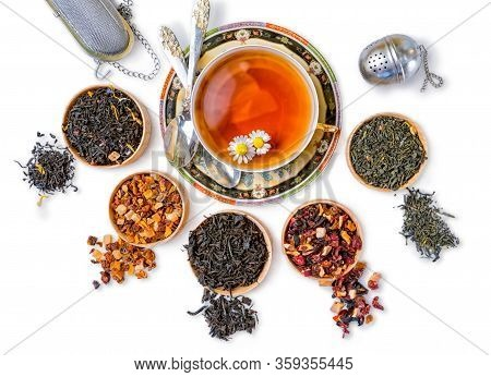 Different Types Of Tea On A White Background. A Kind Of Delicious Tea, Fruit Tea. Top View. Place Fo