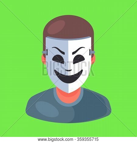 Masked Man Icon. Rip Off A Person. Flat Character Vector Illustration.