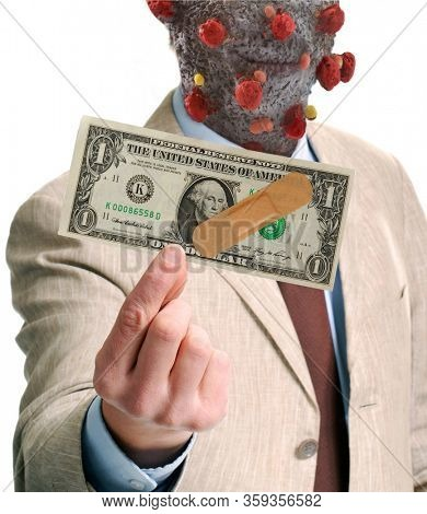 Fictional character from coronavirus molecule strutture on infected businessman holding a dollar bill on economy financial crisis concept.