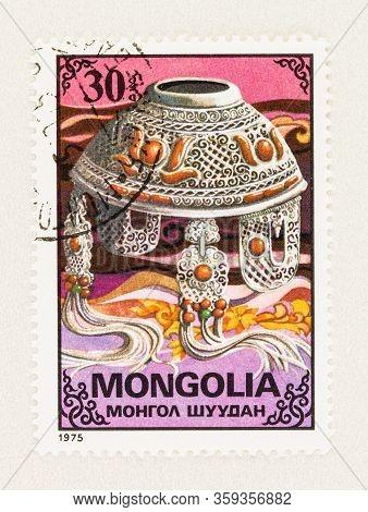 Seattle Washington - April 2, 2020: Close Up Of Mongolia Stamp Commemorating Craftsmanship Of Mongol