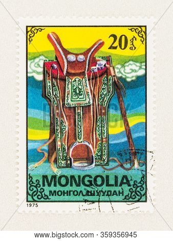 Seattle Washington - April 2, 2020: Close Up Of Mongolia Stamp Featuring Traditional Saddle, Commemo