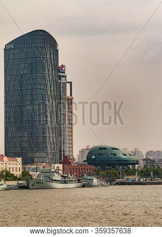 Shanghai, Pudong, Lujiazui, China - May 4, 2010: Closeup Of Sipg Skyscraper Along Huanpu River Near