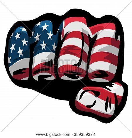 American Flag Clenched Fist Isolated Vector Illustration