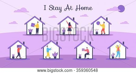 People At Home. People Do Different Activities During Self-quarantine. Illustration Of Activities In