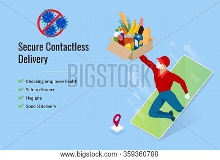 Isometric Delivery Man Or Courier In A Medical Mask And Gloves Delivered Delivering Food To Customer