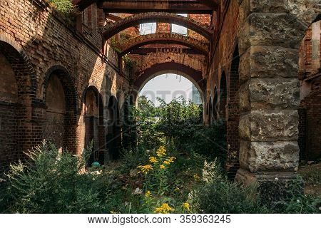 Overgrown By Plants Ruins Of Abandoned Mansion