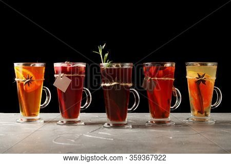 Banner Set Of Tea In Mulled. Autumn Traditional Drinks, Set Punch And Mulled Wine On Christmas. Isol