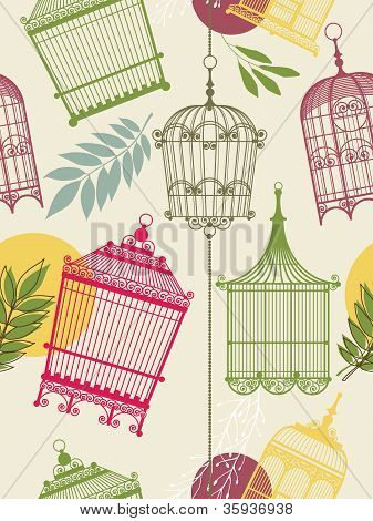 Vintag Pattern With Birdcages