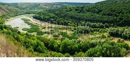 Beatuful nature landscape near Kitaygorod outcrop. The most perfect outcrop of Silurian and Devonian stratum relating to the period of Palaeozoic. Travelling across Ukraine. Podilski Tovtry.