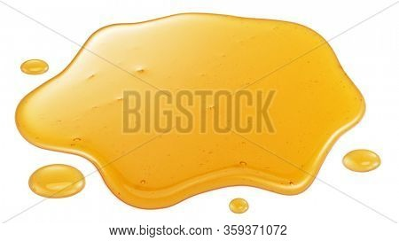 Sweet sticky honey puddle and honey drops isolated on white background.