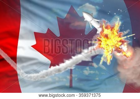 Canada Intercepted Supersonic Warhead, Modern Antirocket Destroys Enemy Missile Concept, Military In