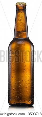 Chilled bottle of light beer isolated on a white background. File contains clipping path.