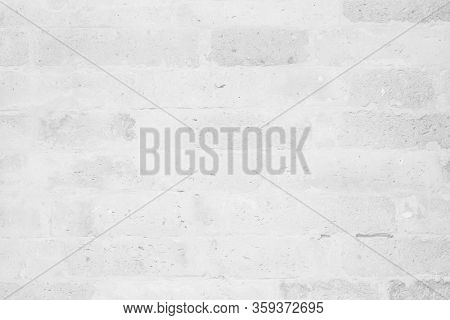 White Brick Wall Texture Background. Brickwork Or Stonework Flooring Interior Rock Old Pattern Clean