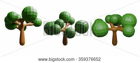 Isolated Low Polygon Tree On White Background With Clipping Path, 3d Render