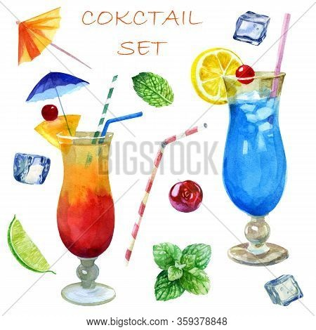 Watercolor Illustration, Set. Image Of Glasses With Sex Cocktails On The Beach And Blue Lagoon. Mint