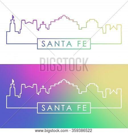 Santa Fe Skyline. Colorful Linear Style. Editable Vector File.