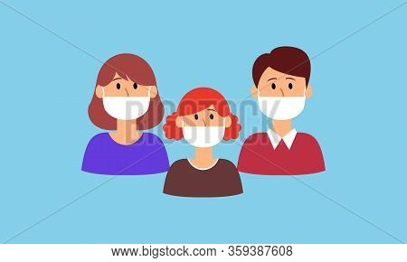 Mask, Face, Medical, Family, People, Surgical, Child, Vector, Person, Icon, Surgery, Hygiene, Respir