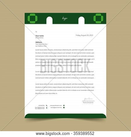 Green Letterhead Pad Template Design Eye Catching