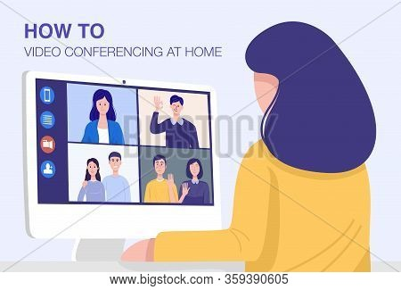Video Conferencing At Home, Close-up Woman Having Video Call Meeting With Clients At Home. Vector