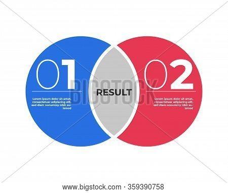 Venn Diagram Infographic Template . Two Circles Merge .