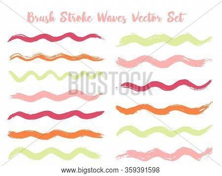 Hipster Brush Stroke Waves Vector Set. Hand Drawn Pink Green Brushstrokes, Ink Splashes, Watercolor