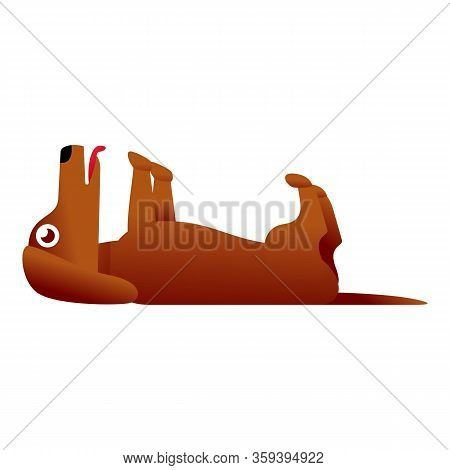 Funny Dachshund Icon. Cartoon Of Funny Dachshund Vector Icon For Web Design Isolated On White Backgr
