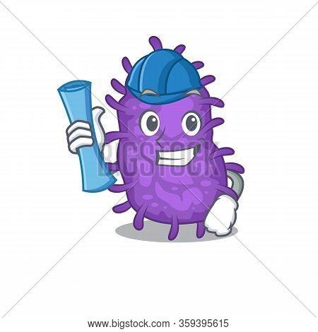Cartoon Character Of Bacteria Bacilli Brainy Architect With Blue Prints And Blue Helmet
